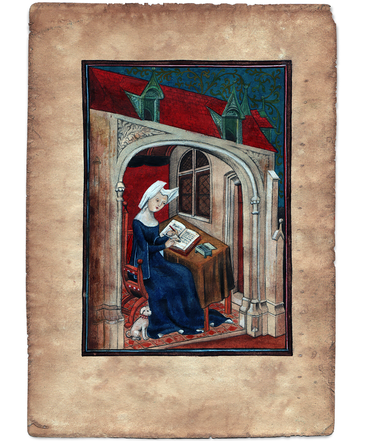 Det første maleri af Christine de Pizan